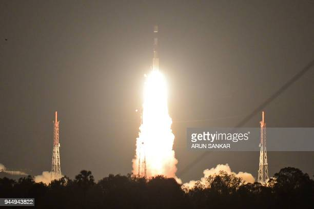 The Indian Space Research Organisation's navigation satellite IRNSS1I on board the Polar Satellite Launch Vehicle lifts off at the Satish Dawan Space...