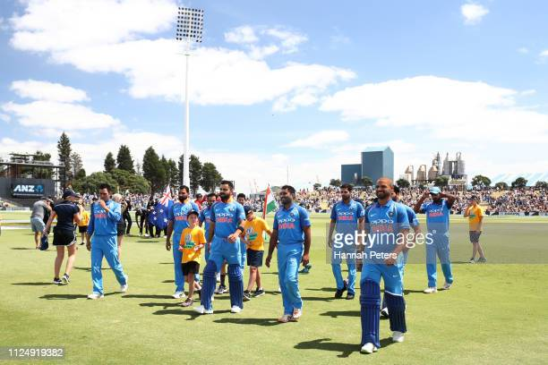 The Indian team ahead of game two of the One Day International Series between New Zealand and India at Bay Oval on January 26, 2019 in Mount...