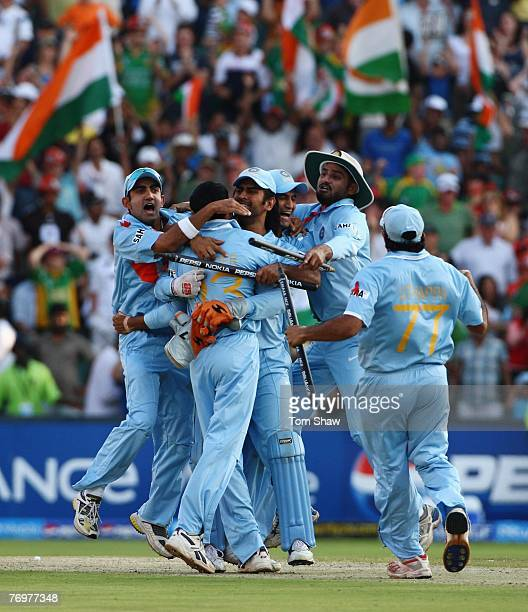 The Indian team celebrate victory during the Twenty20 Championship Final match between Pakistan and India at The Wanderers Stadium on September 24,...