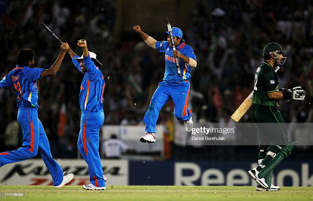 The Indian team celebrate victory over Pakistan during the 2011 ICC World Cup second Semi-Final between India and Pakistan at Punjab Cricket Association (PCA) Stadium on March 30, 2011 in Mohali, India.
