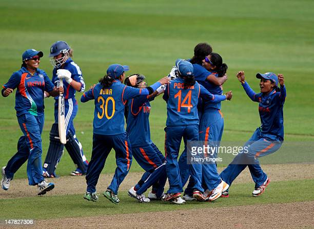 The Indian team celebrate winning the match during the 2nd NatWest International One Day match between England Women and India Women at The County...