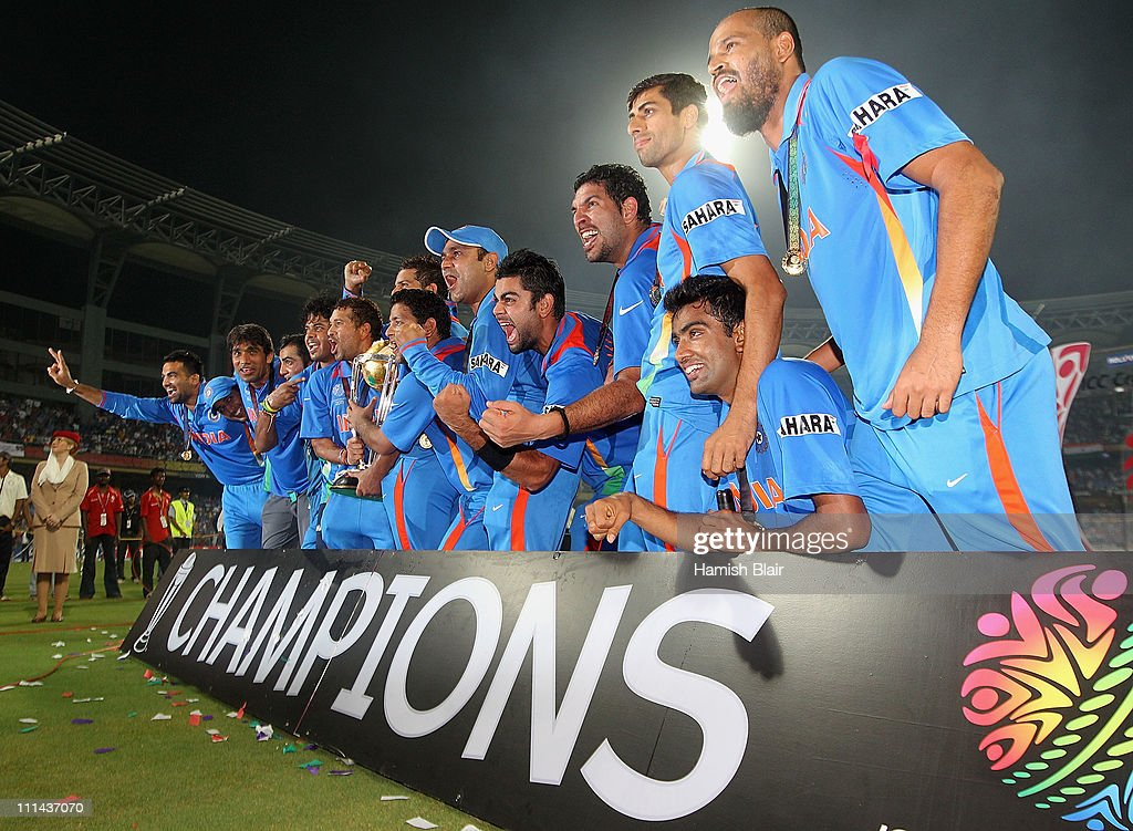 The Indian team celebrate with the trophy after the 2011 ICC World Cup Final between India and Sri Lanka at Wankhede Stadium on April 2, 2011 in Mumbai, India.