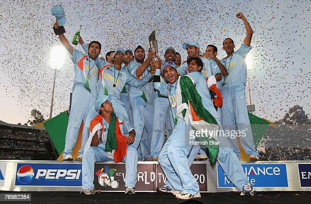 The Indian Team celebrate with the trophy after the Twenty20 Championship Final match between Pakistan and India at The Wanderers Stadium on...