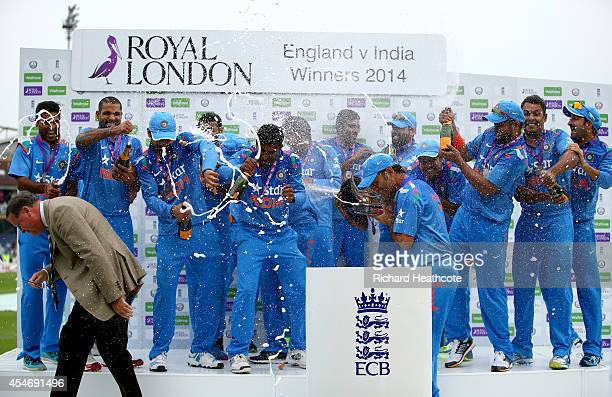 The Indian team celebrate with the trophy after winning the series 3-1 after the Royal London One-Day match between England and India at Headingley...