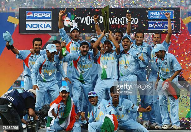 The Indian team celebrate with the trophy during the Twenty20 Championship Final match between Pakistan and India at The Wanderers Stadium on...