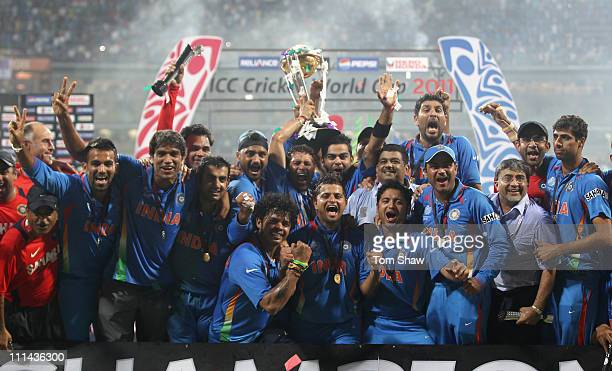 The Indian team celebrate with the World Cup after beating Sri Lanka during the 2011 ICC World Cup Final between India and Sri Lanka at the Wankhede...