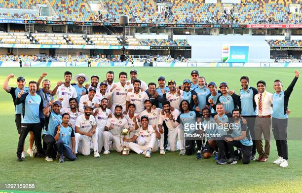 The Indian team celebrates victory after day five of the 4th Test Match in the series between Australia and India at The Gabba on January 19, 2021 in...