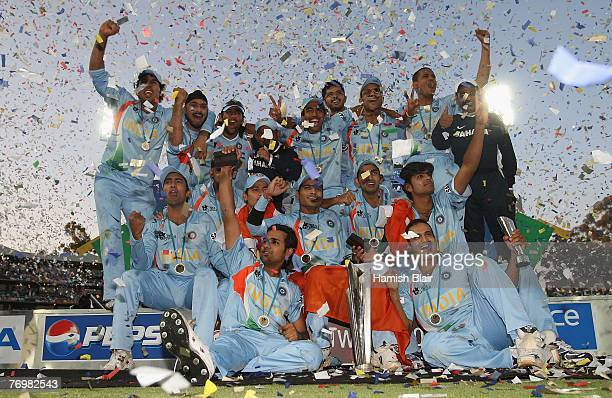 The Indian team celebrates with the trophy after the Twenty20 Championship Final match between Pakistan and India at The Wanderers Stadium on...