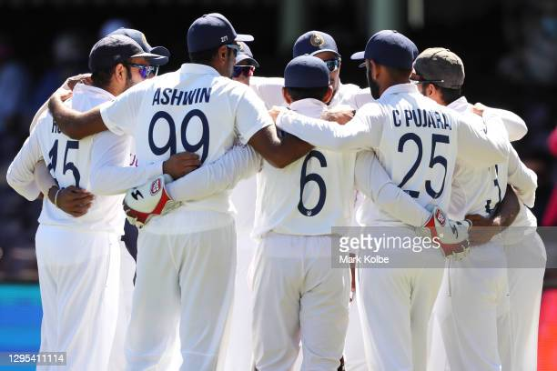 The Indian team form a huddle as they prepare to take the field during day three of the Third Test match in the series between Australia and India at...