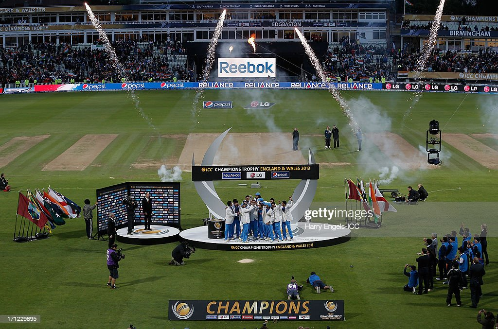 The Indian team lift the trophy after winning the ICC Champions Trophy final between England and India at Edgbaston on June 23, 2013 in Birmingham, England.