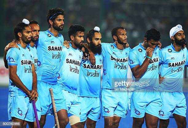 The Indian team look on during the penalty shoot out during the match between Netherlands and India on day ten of The Hero Hockey League World Final...
