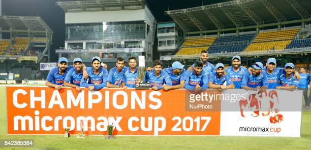 The Indian team pose for a group photograph after winning the ODI series against the host Sri Lanka by 50 after the 5th and final One Day...