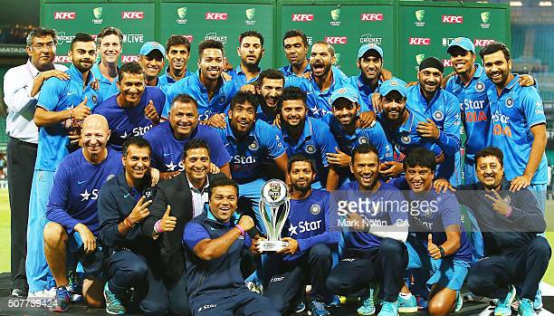 The INdian team pose for a photo after the International Twenty20 match between Australia and India at Sydney Cricket Ground on January 31 2016 in...
