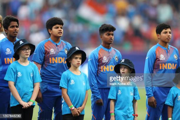The Indian team sing the national anthem during the ICC Women's T20 Cricket World Cup match between Australia and India at Sydney Showground Stadium...