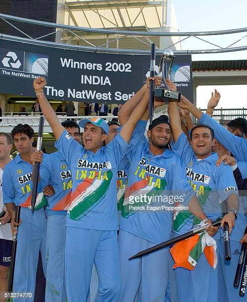 The Indian team with captain Sourav Ganguly celebrate winning the NatWest Series Final between England and India at Lord's London 13th July 2002...