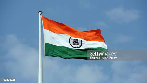 The Indian tricolour national flag is seen flying above the Mantralaya state secretariat building in Mumbai on September 27 2012 AFP PHOTO/ INDRANIL...