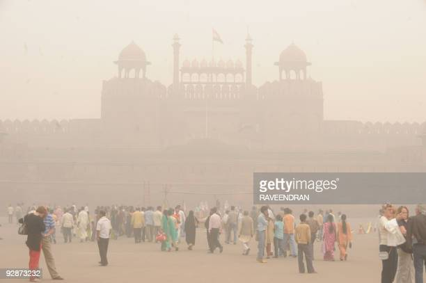 The Indian winter's first light fog casts a blanket over the Red Fort in New Delhi on November 7 2009 Environmentalists say allround construction...