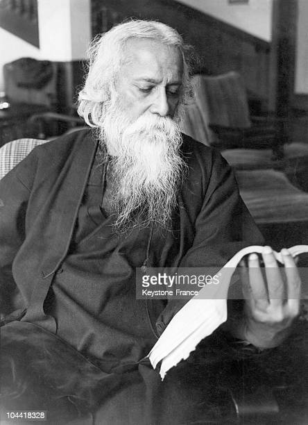 The Indian writer Rabindranath Tagore reading a book in the 1930s