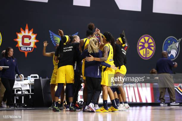 The Indiana Fever celebrate after winning a game against the Phoenix Mercury on July 29, 2020 at Feld Entertainment Center in Palmetto, Florida. NOTE...