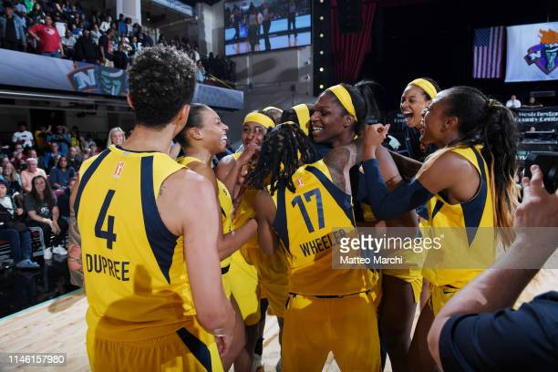 The Indiana Fever celebrate the game winning basket against the New York Liberty on May 24, 2019 at the Westchester County Center, in White Plains,...