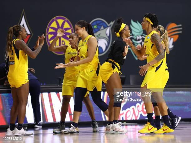 The Indiana Fever celebrates the win against the game against the Phoenix Mercury on July 29, 2020 at Feld Entertainment Center in Palmetto, Florida....