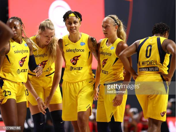 The Indiana Fever during the game against the Washington Mystics on August 9, 2020 at Feld Entertainment Center in Palmetto, Florida. NOTE TO USER:...
