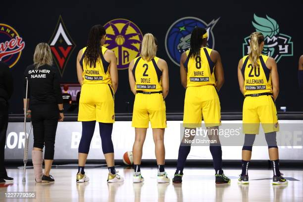 The Indiana Fever honor Breonna Taylor prior to a game against the Washington Mystics on July 25, 2020 at Feld Entertainment Center in Palmetto,...