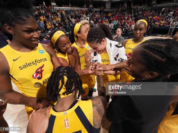 The Indiana Fever huddle during the game against the Connecticut Sun on September 8, 2019 at the Bankers Life Fieldhouse in Indianapolis, Indiana....