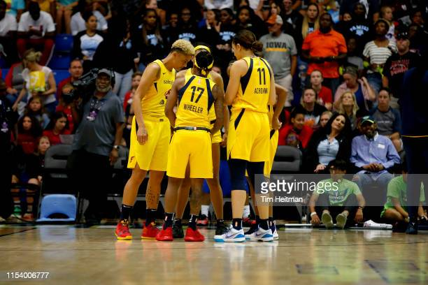 The Indiana Fever huddle up against the Dallas Wings on July 5, 2019 at the College Park Center in Arlington, Texas. NOTE TO USER: User expressly...