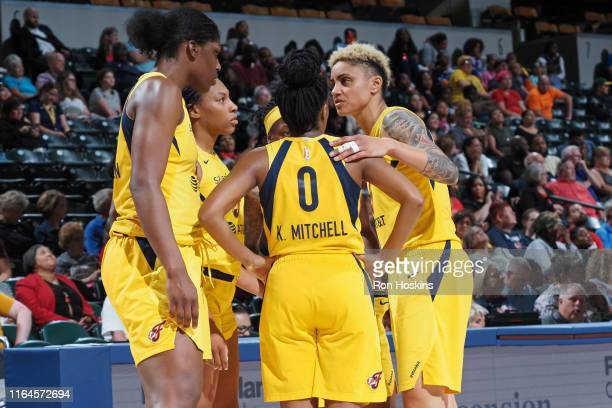 The Indiana Fever huddles during the game against the Las Vegas Aces on August 27, 2019 at the Bankers Life Fieldhouse in Indianapolis, Indiana. NOTE...