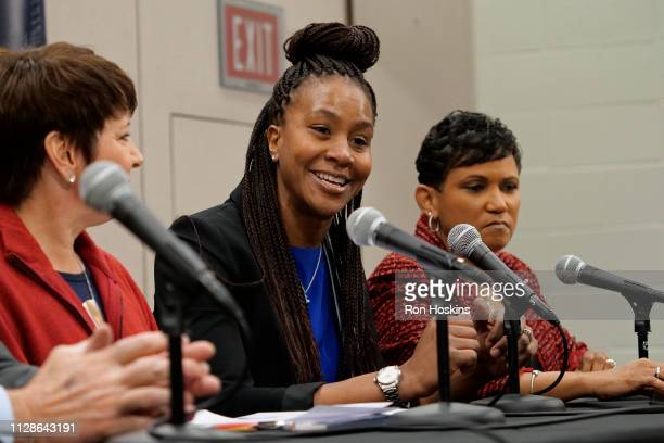 The Indiana Fever introduce Tamika Catchings as VP of Basketball Operations and Allison Barber President and COO of the Indiana Fever during a press...