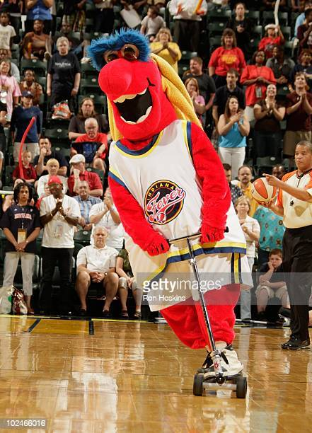 The Indiana Fever mascot performs against the Atlanta Dream at Conseco Fieldhouse on June 19 2010 in Indianapolis Indiana NOTE TO USER User expressly...
