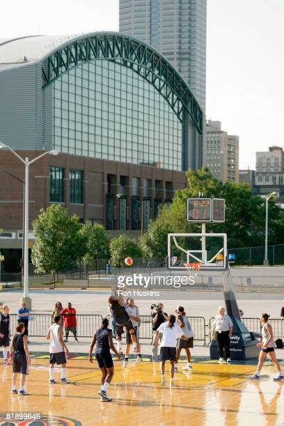 The Indiana Fever practice outside near Conseco Fieldhouse July 10, 2008 in Indianapolis, Indiana. They are readying themselves for the Liberty...