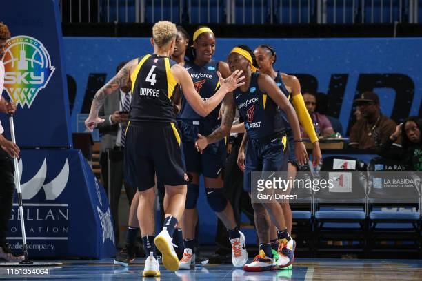 The Indiana Fever react during a game against the Chicago Sky on June 21, 2019 at the Wintrust Arena in Chicago, Illinois. NOTE TO USER: User...