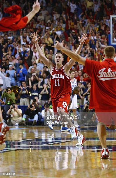 The Indiana Hoosiers celebrate their 7473 victory over the Duke Blue Devils on March 21 2002 in the semifinals of the South Regional of the NCAA...