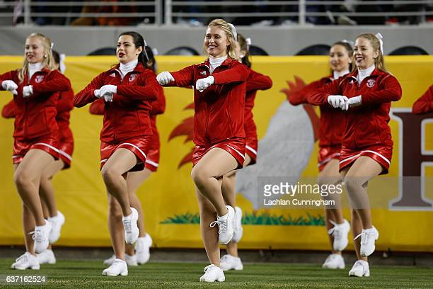 The Indiana Hoosiers cheerleaders perform during the Foster Farms Bowl game at Levi's Stadium on December 28 2016 in Santa Clara California