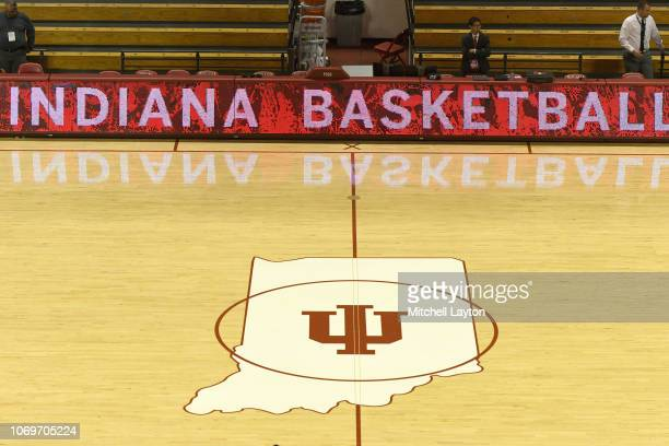 The Indiana Hoosiers logo on the floor before a college basketball game against the Marquette Golden Eagles at the Simon Skjodt Assembly Hall on...