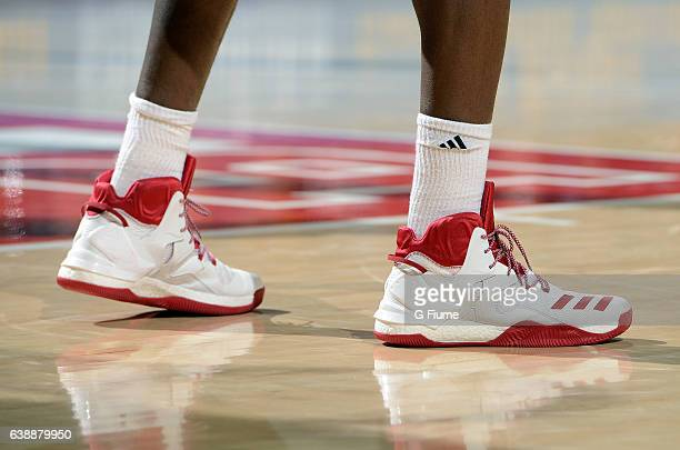 The Indiana Hoosiers wear Adidas shoes during the game against the Maryland Terrapins at Xfinity Center on January 10 2017 in College Park Maryland