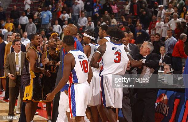 The Indiana Pacers and the Detroit Pistons mix it up in a scuffle on November 19, 2004 during their game at the Palace of Auburn Hills, in Auburn...