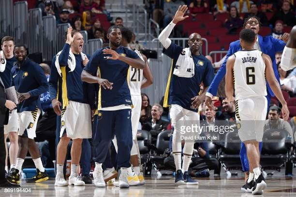 The Indiana Pacers celebrate during the game against the Cleveland Cavaliers on November 1 2017 at Quicken Loans Arena in Cleveland Ohio NOTE TO USER...