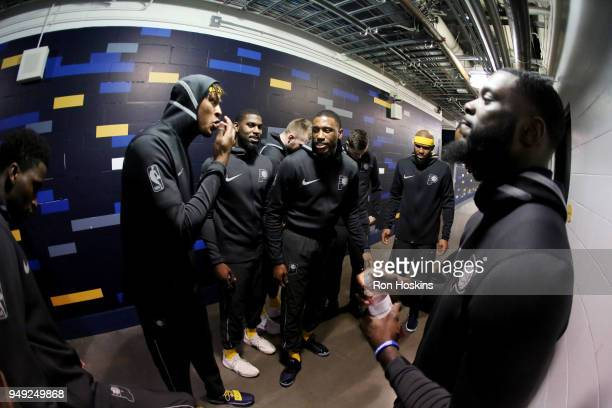 the Indiana Pacers huddle prior to entering the arena in Game Three of Round One of the 2018 NBA Playoffs against the Cleveland Cavaliers on April 20...