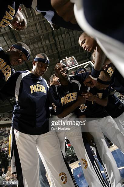 The Indiana Pacers huddle prior to the game against the New Jersey Nets at Conseco Fieldhouse on November 17, 2006 in Indianapolis, Indiana. The Nets...