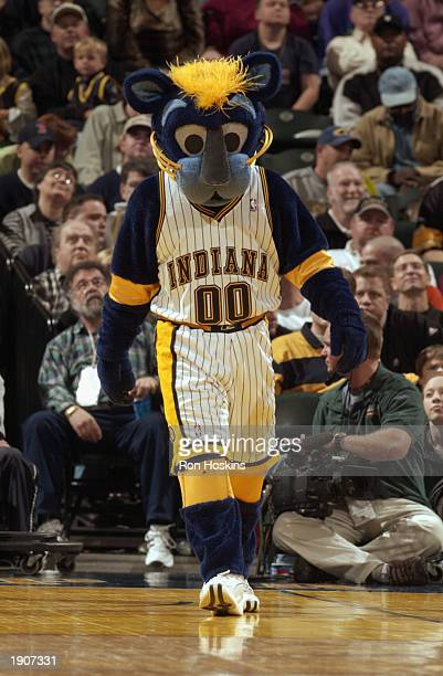 The Indiana Pacers mascot Boomer walks during an intermission in the game against the Phoenix Suns at Conseco Fieldhouse on March 30 2003 in...