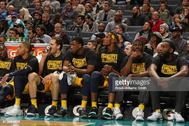 The Indiana Pacers sit on the bench during the game against the Charlotte Hornets on February 2 2018 at Spectrum Center in Charlotte North Carolina...