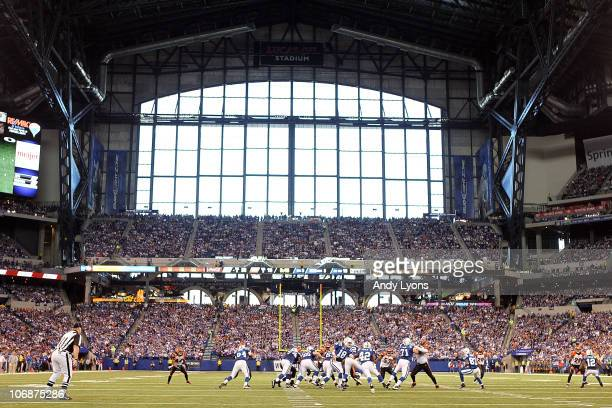 The Indianapolis Colts are on offense during the NFL game against the Cincinnati Bengals at Lucas Oil Stadium on November 14 2010 in Indianapolis...
