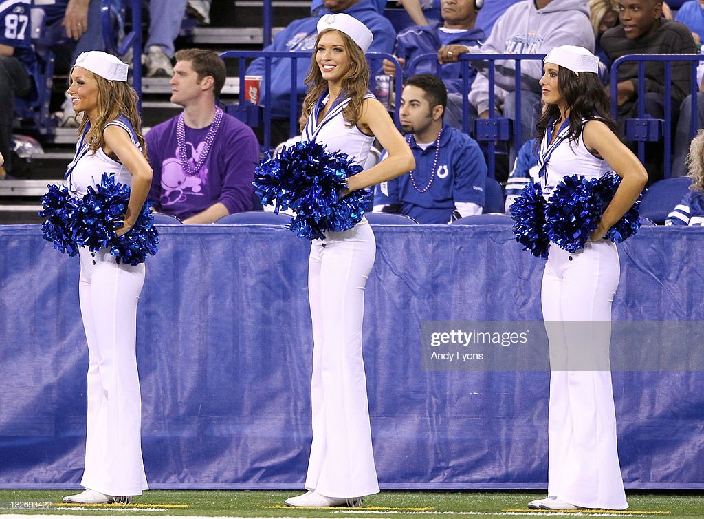 The Indianapolis Colts cheerleaders dressed in military style outfits during the Colts 17-3 loss to the Jacksonville Jaguars at Lucas Oil Stadium on November 13, 2011 in Indianapolis, Indiana.