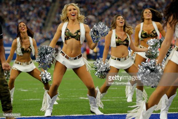 The Indianapolis Colts Cheerleaders perform during the NFL game between the Jacksonville Jaguars and Indianapolis Colts on November 11 at Lucas Oil...