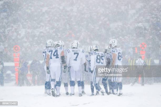 The Indianapolis Colts huddle during the first quarter of a game against the Buffalo Bills on December 10 2017 at New Era Field in Orchard Park New...