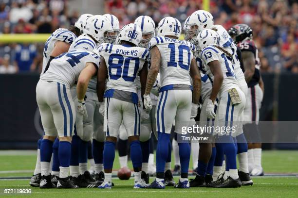 The Indianapolis Colts huddle in the second half against the Houston Texans at NRG Stadium on November 5 2017 in Houston Texas