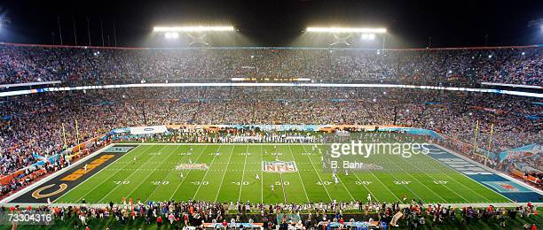 The Indianapolis Colts kick off against the Chicago Bears during Super Bowl XLI on February 4 2007 at Dolphin Stadium in Miami Gardens Florida The...